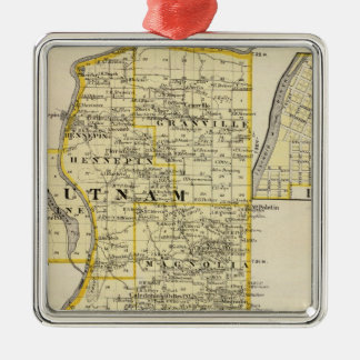 Map of Putnam and east part of Marshall counties Silver-Colored Square Decoration