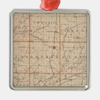 Map of Putnam County Silver-Colored Square Decoration