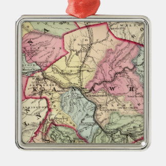 Map of Putnam, Kanawha, Boone counties Silver-Colored Square Decoration