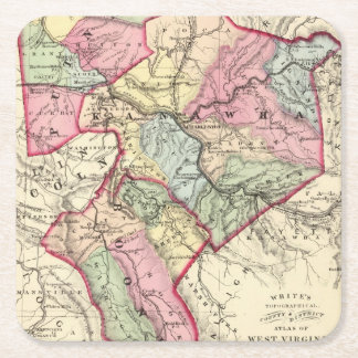 Map of Putnam, Kanawha, Boone counties Square Paper Coaster