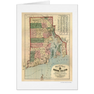 Map of Rhode Island & Providence Plantations 1880 Greeting Card