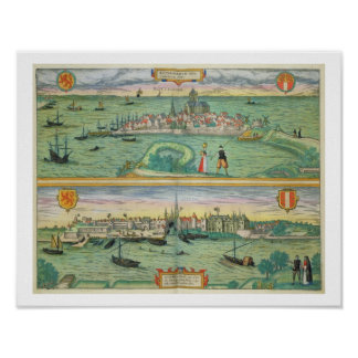 Map of Rotterdam and Gouda, from 'Civitates Orbis Poster