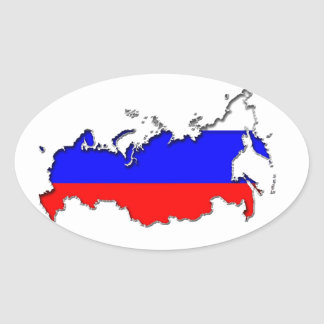 Map of Russia Oval Sticker
