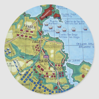 Map of the Battle of Corunna Round Stickers