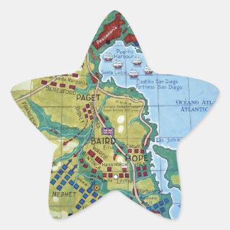 Map of the Battle of Corunna Star Sticker