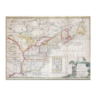 Map of the British Dominions in 1763 Canvas Prints
