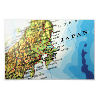 Map of the Capital city of Japan, Tokyo Photographic Print