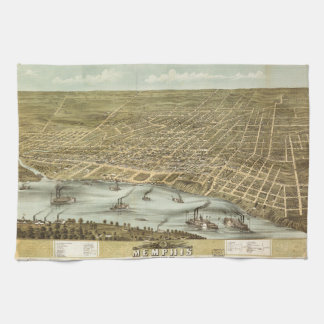 Map of the City of Memphis Tennessee (1870) Tea Towel