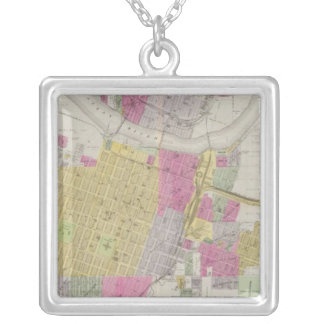 Map of the City of Topeka Silver Plated Necklace