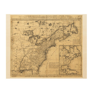 Map of the English Empire in North America (1755) Wood Canvas