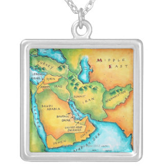 Map of the Middle East Silver Plated Necklace