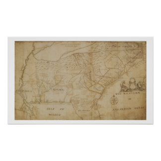 Map of the Southeastern part of North America, 172 Poster