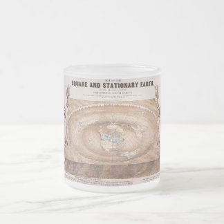 Map of the Square and Stationary Earth by Ferguson Frosted Glass Coffee Mug