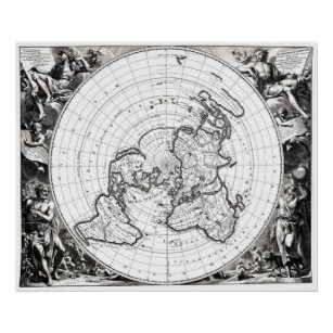 Poster 24 x 18 Flat Earth Map Square and Stationary Earth Orlando Ferguson