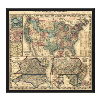 Map of the United States and Territories (1861) Canvas Print