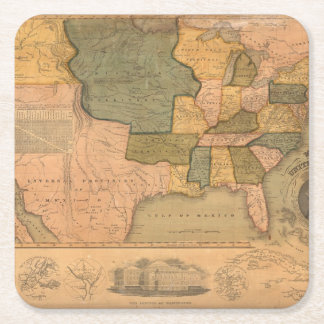 Map of The United States with George Washington Square Paper Coaster