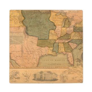 Map of The United States with George Washington Wood Coaster