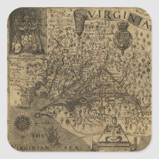 Map of Virginia by John Smith (1624) Square Sticker