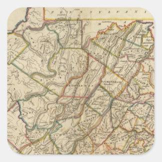 Map of Virginia Square Sticker