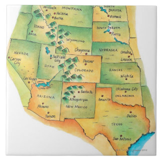 Map of Western United States Tile