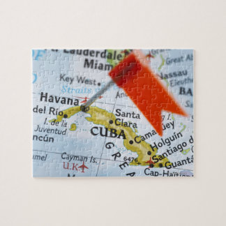 Map pin placed in Havana, Cuba on map, close-up Jigsaw Puzzle