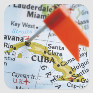 Map pin placed in Havana, Cuba on map, close-up Square Sticker
