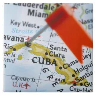 Map pin placed in Havana, Cuba on map, close-up Tile
