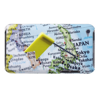 Map pin placed in Tokyo, Japan on map, close-up iPod Case-Mate Case
