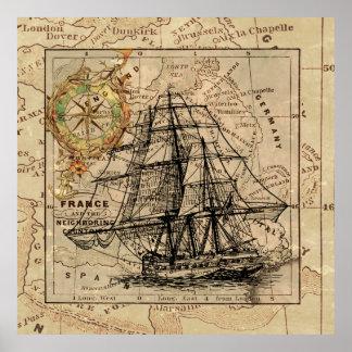 Map Retro Sailing Ship Design Poster