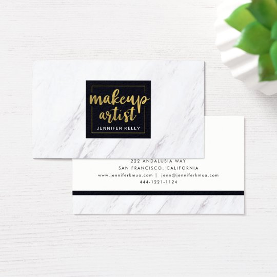 Marble Makeup Artist Business Card