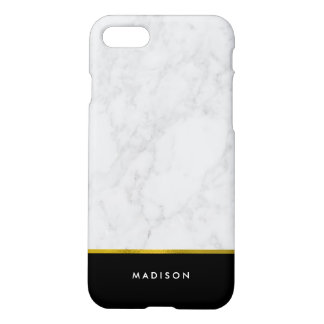 Marble Pattern and Faux Gold Foil iPhone 7 Case