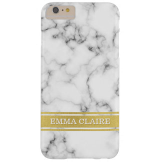 Marble Pattern with Gold Name Plate Barely There iPhone 6 Plus Case
