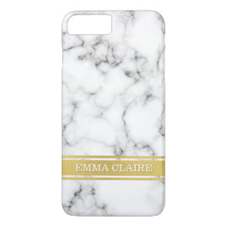 Marble Pattern with Gold Name Plate iPhone 8 Plus/7 Plus Case