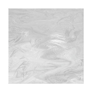 Marble Stone Abstract Monochromatic Waves Gray Canvas Print
