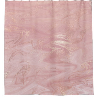 Marble Stone Molten Gold Abstract Pink Rose Gold Shower Curtain