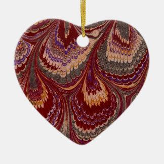 Marbled Paper 1 Motif Ceramic Heart Decoration