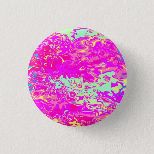 Marbleised Look Pinks Greens Yellow and Blue 3 Cm Round Badge