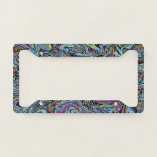 Marbleised Swirls of Black Yellow Pink Blue Etc. Licence Plate Frame
