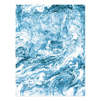 Marbleized New Address Card | Blue and White