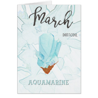 March Birthday: Aquamarine Birthstone and Flower Card