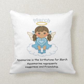 March Birthstone Angel Brunette Cushion