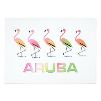March of the Tropical Flamingos ARUBA Card