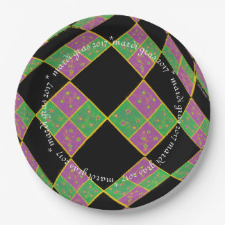 Mardi Gras 2017 Purple, Green and Gold Argyle Paper Plate