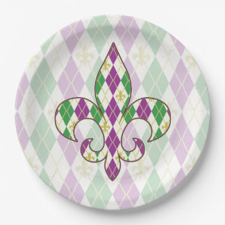 Mardi Gras Argyle Paper Plate