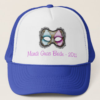 """Mardi Gras Bride"" - Theme Mask Trucker Hat"