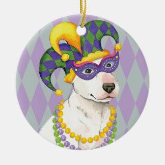 Mardi Gras Bull Terrier Round Ceramic Decoration