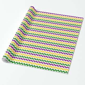 Mardi Gras Chevron Pattern Wrapping Paper