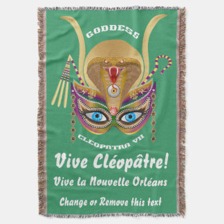 Mardi Gras Cleopatra-VII Read About Design Below Throw Blanket