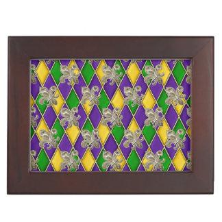 Mardi Gras Colors Treasures Box Keepsake Boxes