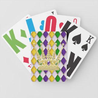 Mardi Gras Crown Harlequin Pattern White Bicycle Playing Cards